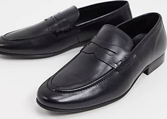 Topman leather loafer in black