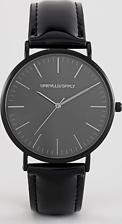 Asos watch in black with patent strap
