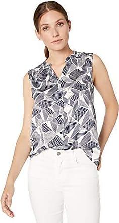 NINE WEST Womens Sleeveless Inverted Pleat Neck Printed Blouse