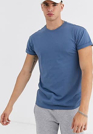New Look roll sleeve t-shirt in dusky blue