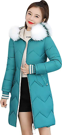 JERFER Women Outerwear Button Coat Long Cotton-Padded Jackets Pocket Fur Hooded Coats M-2XL Red Hot Pink White Black Outercoat