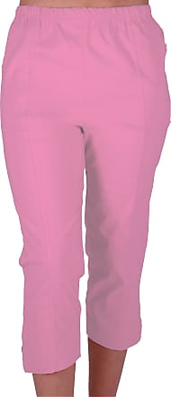 Eyecatch Cora Ladies Stretch Capri Crop Shorts Pedal Pushers Pants Womens 3/4 Cropped Trousers Pink Size 12