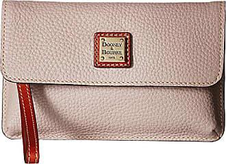 Dooney & Bourke Pebble Milly Wristlet (Oyster/Tan Trim) Wristlet Handbags