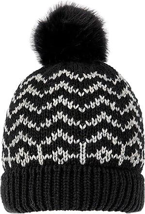 Dents Womens Snowflake Pom Pom Knitted Beanie Hat Black//Winter White