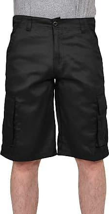 True Face Mens Twill Cargo Shorts Cotton Bermuda Combat Pocket Lightweight Casual Shorts Black 32