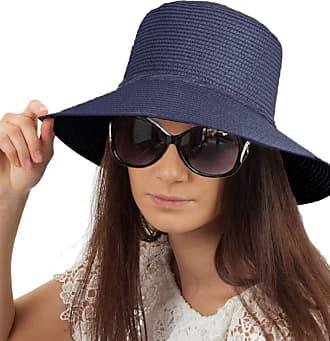 TOSKATOK Ladies Womens Crushable Straw Sun HAT - Navy