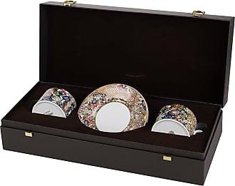 Roberto Cavalli Golden Flowers Teacup & Saucer - Set of 2 - Luxury Gift Box