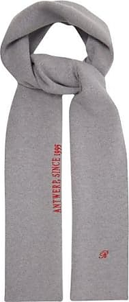 Raf Simons Logo And Text-embroidered Wool-blend Scarf - Womens - Grey