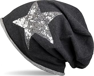 styleBREAKER Beanie hat with Silver Sequined Star and Rolled Edge, Women 04024056, Colour:Black