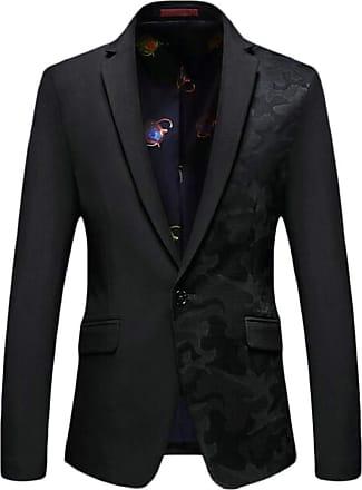 H&E Mens Stylish Slim Fit Notched Lapel Coat Active Printed Blazer Jacket Black Medium
