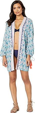 La Blanca Womens Long Sleeve Open Front Kimono Cover Up, White//Milano, L/X