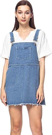 Anna Kaci Junior Womens Casual Distressed Adjustable Strap A-line Pockets Short Denim Pinafore Bib Overall Dress, Blue, X-Large