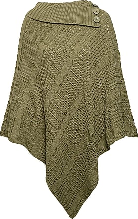 21Fashion Womens Cable Knitted 3 Button Poncho Cape Ladies Fancy Winter Wear Cardigan Top Khaki One Size Fits UK 8-22