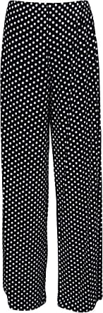 WearAll Plus Size Womens Palazzo Wide Leg Flared Trousers Ladies Print Pants - Black Spot - 12/14