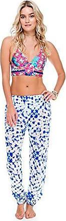 Luli Fama Womens Beautiful Mess Smocked Gypsy Pant Cover Up, Multi, S