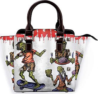 Browncin Zombie Dead Man Eating Brain Cannibal Meditating Skate Boarding Detachable Fashion Trend Ladies Handbag Shoulder Bag Messenger Bags