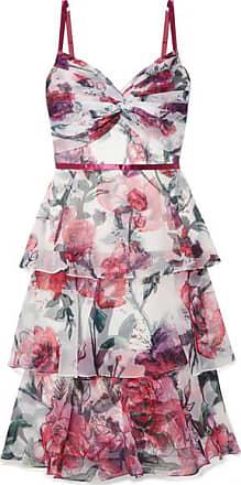 Marchesa Tiered Floral-print Organza Midi Dress - Ivory