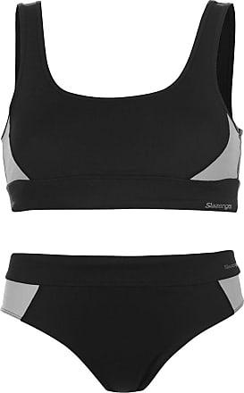 Slazenger Womens Sport Bra Bikini 2 Piece Panel Design (Black, 16)