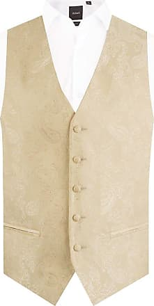 Dobell Mens Gold Paisley Waistcoat Regular Fit 5 Button Wedding-4XL (58-60in)
