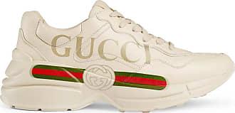 Gucci Tênis Rhyton de couro com logo - Branco