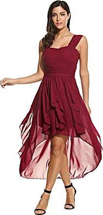 adba45b80014f3 Beyove Damen Chiffonkleid Abendkleid Knielang Elegant Vokuhila Kleid Mit  Saum Ballkleid Wickelkleid Sommerkleid Partykleid Cocktailkleid
