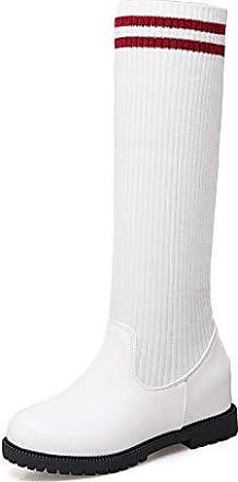 b7b40e920b Aisun Damen Streife Strick Keilabsatz Erhöht Profilsohle Langschaft Sock  Boots Stretch Stiefel Weiß 40 EU