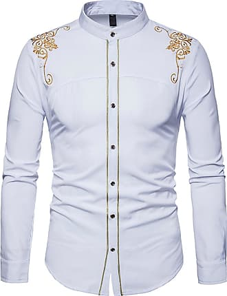 Whatlees Mens Solid Long Sleeve Slim Fit Embroidery Overlap Design Button Down Dress Shirt White 02020013XWhite+M