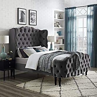 ModWay MOD-5804-GRY Violette Queen Tufted Wingback Performance Velvet Platform Bed, Gray