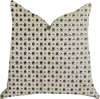 Plutus Brands Haven Pointe Patterned Double Sided Luxury Throw Pillow 26 x 26 Gold/Beige