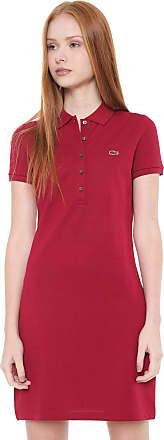 b4e8879fcf3 Lacoste Vestido Polo Lacoste Curto Logo Vermelho