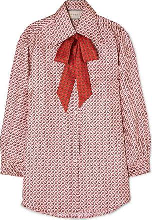 8a5c91b832b Gucci Pussy-bow Printed Silk-twill Shirt - Blush