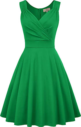 Grace Karin 1950s Rockabilly Fancy Party Cocktail Dress Sleeveless A-line Knee Length Party Picnic Flared Dress L Green