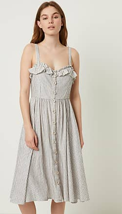 French Connection Stripe Ruffle Midi Dress