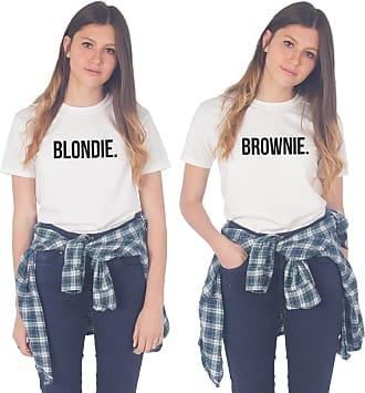 Sanfran Clothing Sanfran - Blondie Brownie Top Funny Matching Besties BFF Heart T-Shirt - Medium & Medium/White
