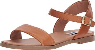 Steve Madden Womens DINA Flat Sandal, Tan Leather, 6.5 UK
