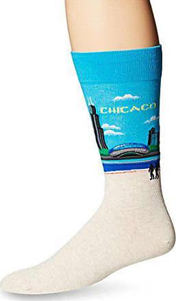 Hot Sox Mens Fashion Travel Crew Socks, Chicago (Light Blue), Shoe Size: 6-12