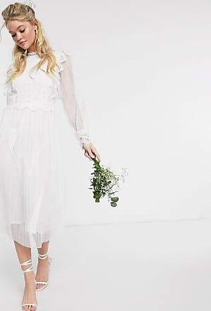 Y.A.S wedding midi dress with sheer sleeves in white