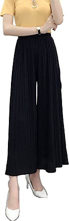 ZongSen Womens High Waist Plus Size Wide Pleated Leg Plain Trousers Pleated Bell-Bottoms Cropped Chiffon Pants Black M