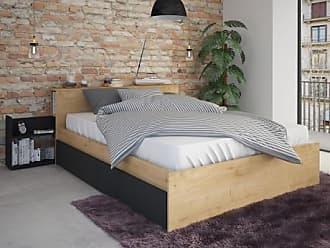 Venta-Unica.com Cama FRANK con cajones y mesas de noche integradas - 140x190 cm - Color: roble y antracita