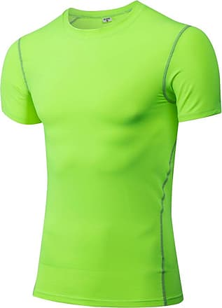 YiJee Mens Compression Quick Dry Elastic Athletic Short Sleeve T Shirt Green M