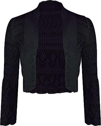 Generic New Ladies Womens Long Sleeve Crochet Bolero Shrug Plain Cropped Knitted Open Cardigan Tops 8-14 Black
