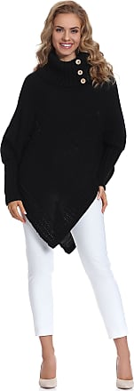 Merry Style Womens Poncho Moena (Black, One Size)