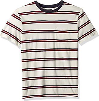 Brixton Mens HILT Tailored FIT Washed Short Sleeve Pocket Knit TEE, White/Navy/red, S