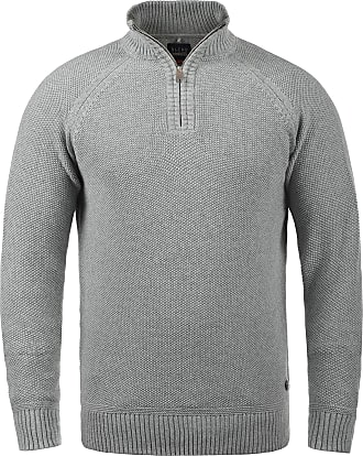 Blend Thompson Mens Jumper Chunky Knit Pullover Troyer Made of 100% Cotton with Zipper, Size:M, Colour:Stone Mix (70813)