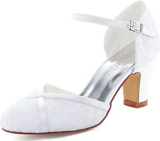 Elegantpark HC1802 Women Closed Toe High Block Heel Court Shoes Straps Buckle Lace Wedding Bridal Shoes White UK 5(EU 38)