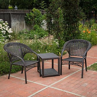 BEST SELLING HOME Broward Wicker 3 Piece Outdoor Stacking Chair Chat Set - 300942