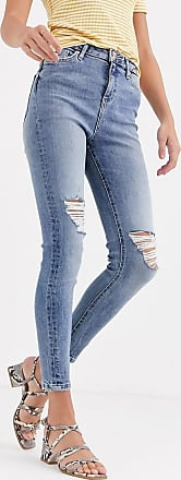 Miss Selfridge skinny jeans with rips in mid wash blue