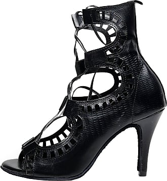 Find Nice Ladies Sexy Lace Up Mid Top Latin Salsa Tango Cha-Cha Party Dance-shoes7071 Black 8.5 UK