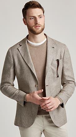 Hackett Mens Wool, Silk & Linen Glencheck Blazer | Size 40Regular | Beige