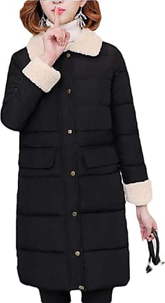 VITryst Womens Lapel Solid Wool Coat Winter Casual Warm Slim Knee Length Thick Long Sleeve Jacket,Black,X-Large